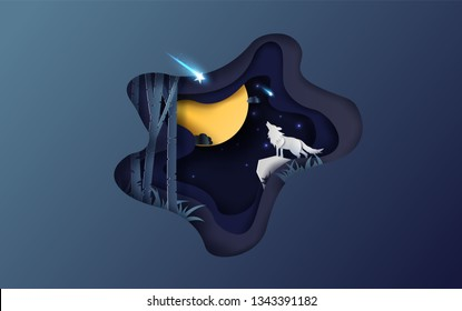 Creative design Paper art of full moon autumn with wolf howling at night your text space background,Winter season for star fall on night sky,Paper cut and craft by forest in wintertime dark,vector