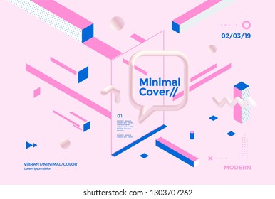 Creative design poster with isometric geometric shapes and 3d elements. Minimal brigth backgrounds for flyer, cover, brochure. Vector template