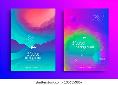 Creative design poster with vibrant gradients colors and fluid shapes. . Colorful brigth liquid form. Vector backgrounds for cover, brochure.
