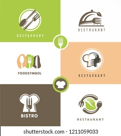 Creative design set  for healthy food restaurant. Fresh and delicious food logo artistic concepts collection. Stylized symbols, signs, vector emblem icons and logos for bistro, bar, cafe, bakery, dine