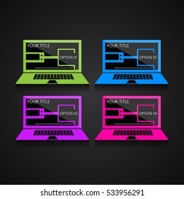 Creative design template, colorful laptops in a dark background with line art numbered banners for news and advertising, EPS10 Vector Illustration.