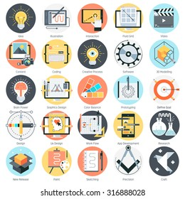 Creative design theme, flat style, colorful, vector icon set for info graphics, websites, mobile and print media.