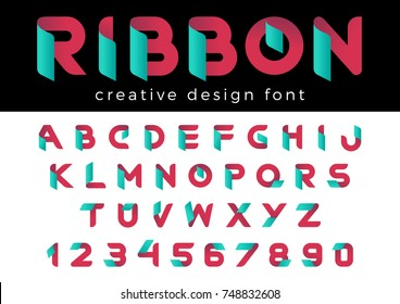 Creative Design vector Font of Ribbon for Title, Header, Lettering, Logo. Corporate Business  Technology Typeface. Colorful Letters and Numbers.