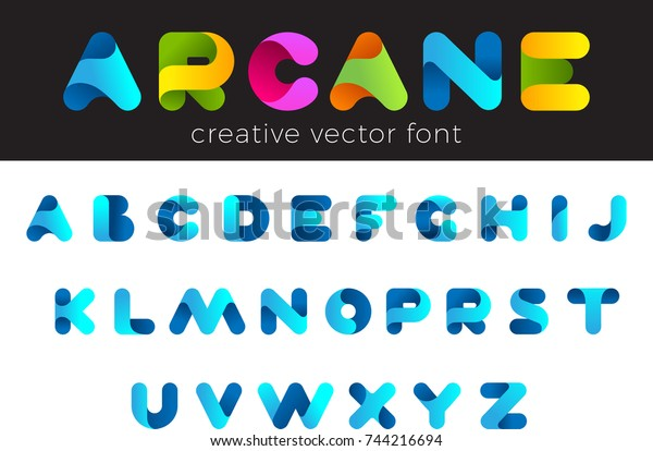 Creative Design vector Font of twisted Ribbon for Title, Header, Lettering, Logo. Funny Entertainment Active Sport Technology areas Typeface. Colorful rounded Letters and Numbers.
