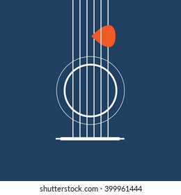 Creative designed of Flat Acoustic Guitar , Vector Illustrator eps10