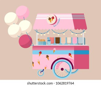 Creative detailed vector ice cream cart with baloons on beige backgroung