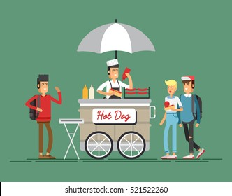 Creative detailed vector street grilled cart or hot dog street cart with seller. Young people having a hotdog