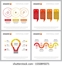 Creative diagram set for startup, new launch concept. Can be used for business project, marketing report, presentation slide template. Process, timeline, option, cycle