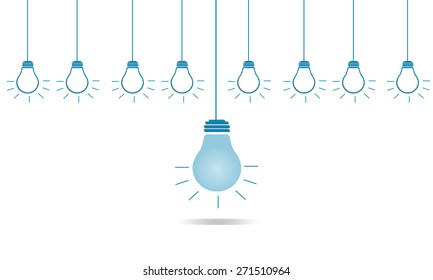 Creative different bulb of leadership in business concept