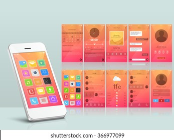 Creative different UI, UX and GUI layout for responsive e-commerce and mobile apps including Calendar, Music Player, Messaging, Calling, Menu, Weather and login screens.