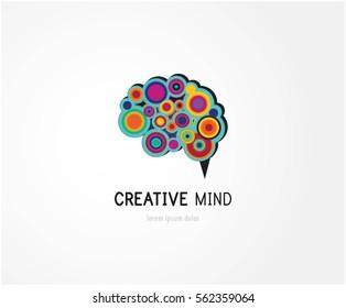 Creative, digital abstract colorful icon of human brain, mind, brain symbol