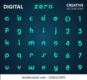 Creative digital circuit style font. Blue lowercase letters from A to Z and numbers from 0 to 9 made of electric current wires and connectors. Modern design concept.