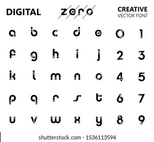 Creative digital circuit style font. Black lowercase letters from A to Z and numbers from 0 to 9 made of electric current wires and connectors. Modern design concept.