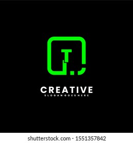 creative digital green square T logo type isolated on black background design concept, vector illustration.