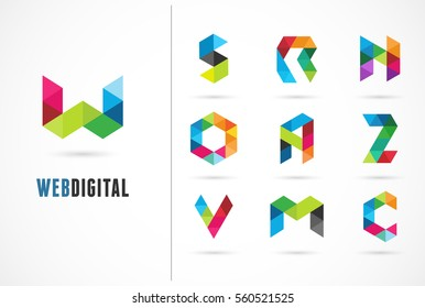 Creative, digital letter colorful icons, element and symbol, logo template. W, S, O, A, Z, N, M, C