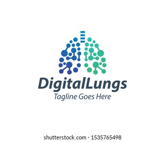 Creative Digital Lungs Care logo Template, Healthy Lungs logo design