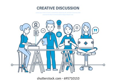 Creative discussion concept. Business team, office workers, teamwork collaboration, exchange of important information, partnership. Start-up. Illustration thin line design of vector doodles