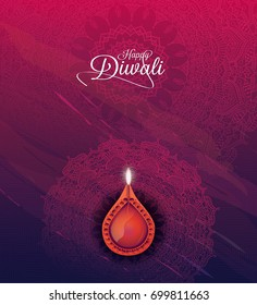 Creative Diwali Background Design Template with Lamp