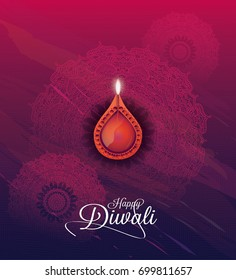 Creative Diwali Festival Background Design with Lamp