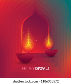 Creative Diwali Festival Background Template Design Vector Illustration