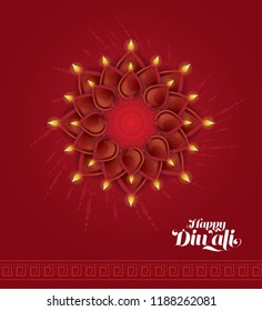 Creative Diwali Festival Background Template Design With Lamps