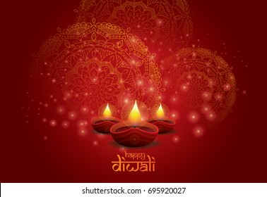 Creative Diwali Festival  Background Template Design with Creative Lamps