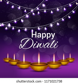 Creative diwali festival greeting card with background