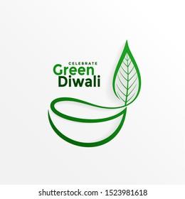 creative diya design with leaf for green diwali
