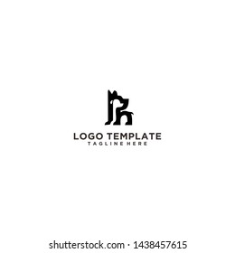 Creative Dog with Letter PN Logo Design Template