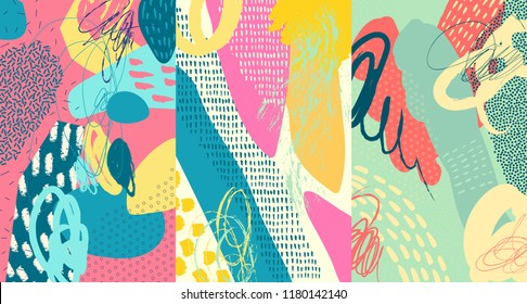 Creative doodle art header with different shapes and textures. Collage. Vector