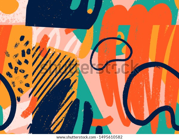 Creative doodle art seamless pattern with different shapes and textures. Collage. Vector