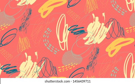 Creative doodle seamless freehand drawn pattern with different shapes and textures. Collage. Vector