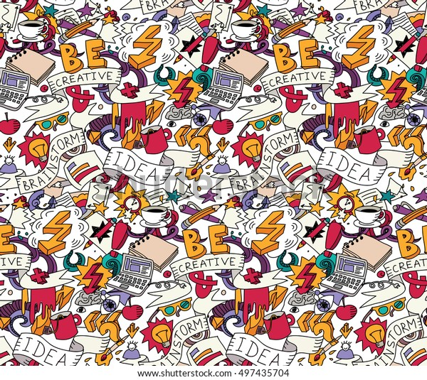 Creative doodles idea brainstorm color seamless pattern white. Cartoon hand drawn doodles. Color detailed vector illustration with lots of objects . EPS8