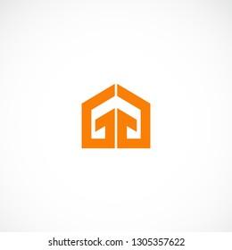 Creative Double Letter G Home Logo Design
