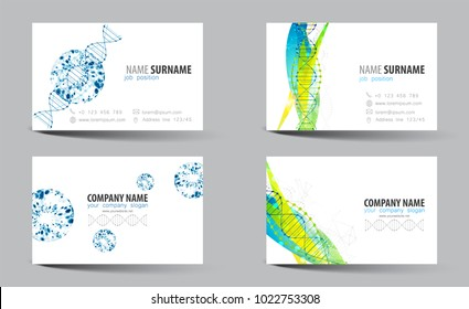 Creative double-sided business card template. DNA theme. Vector
