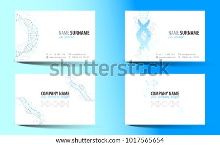 Creative doublesided business card template dna stock vector creative double sided business card template dna theme vector cheaphphosting Images