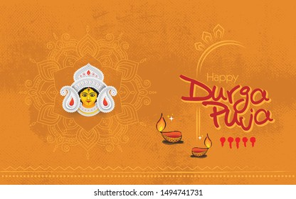 Creative Durga Puja Festival Background Template Design with Goddess Durga Face Illustration and Floral Ornaments