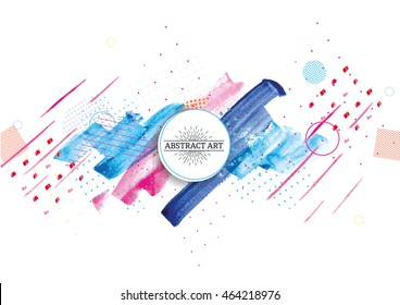 creative dynamic vector illustration with watercolor stains on the background. Manual schedule for party invitations, cards and flyers