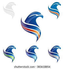 Creative eagle with colorful line , vector Wild eagle Bird Falcon Hawk isolated on a white background