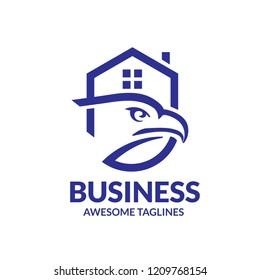 creative eagle house real estate logo vector