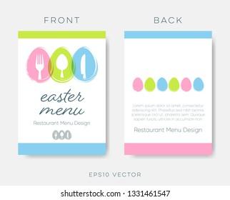 Creative easter restaurant menu template vector brochure design