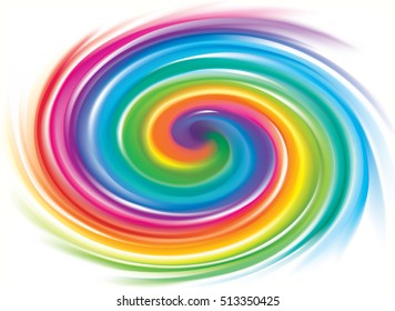 Creative eddy festival happy backdrop of vivid multi colored curled striped spraying ripple fond. Closeup view with space for text