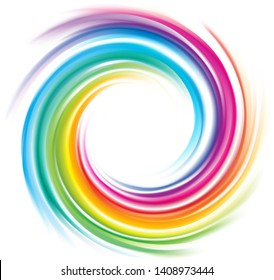 Creative eddy festival happy surface of vivid multi colored glossy curled spraying rippled ring. Closeup view with space for text in glowing light center. Logo sign icon symbol vector design tracery