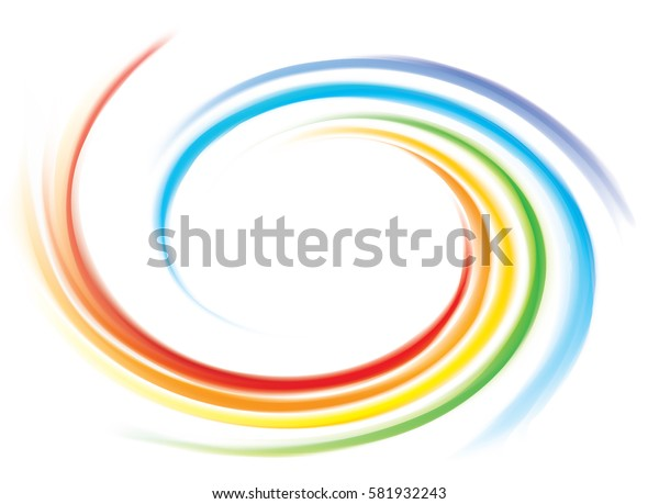 Creative eddy festival happy surface of vivid multi colored glossy curled spraying rippled ring. Closeup view with space for text in glowing white center