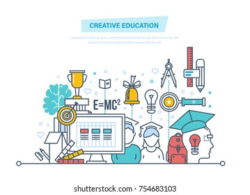 Creative education. Training, creativity distance learning, technology, knowledge, teaching, skills. Creativity, creative thinking, smart education. Illustration thin line design of vector doodles.