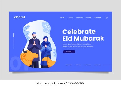 Creative Eid Mubarak Qurban Celebration Family Couple Web Header Landing Page Screen Vector Concept Illustration