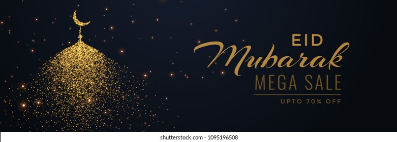 creative eid sale banner header with sparkle mosque