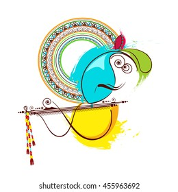 Creative and Elegant Line Art based Vector Illustration of Lord Krishna with Floral decorated flute for the Festival of Janmashtami.