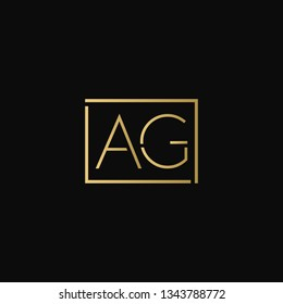 Creative elegant minimal AG artistic square shaped black and gold color initial based letter icon logo