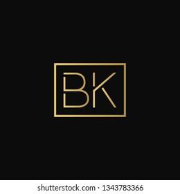 Creative elegant minimal BK artistic square shaped black and gold color initial based letter icon logo